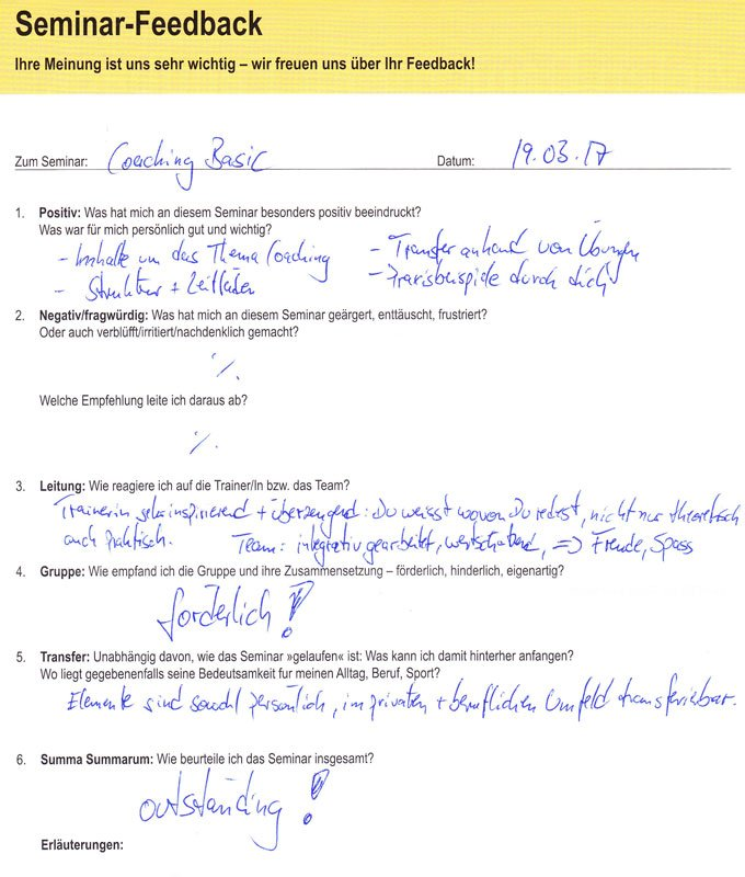 Seminar Feedback Coaching Basis Seminar