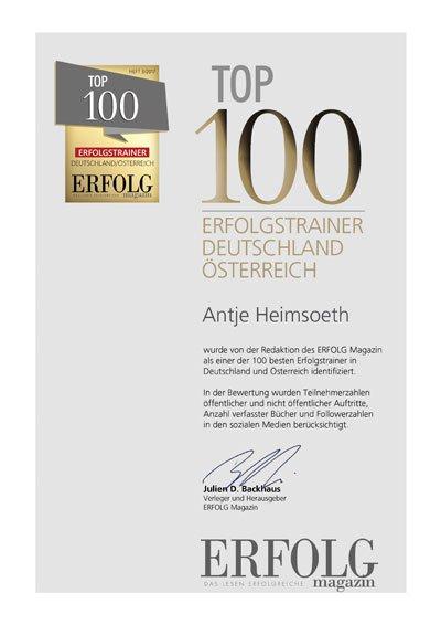 Urkunde-Top100-Erfolgstrainer