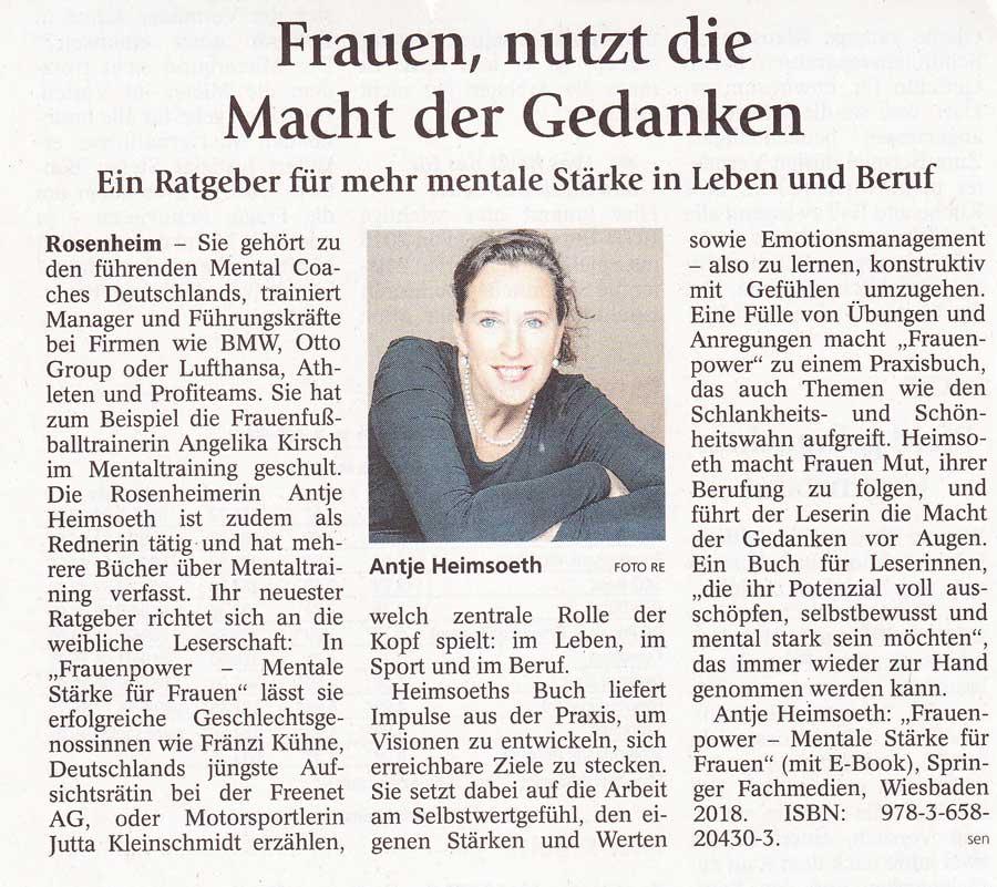 """Antje Heimsoeth mit Buchempfehlung """"Frauenpower"""" im OVB"""