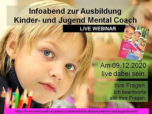 Gratis LIVE Online Infoabend Kinder- und Jugend Mental Coach